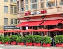 Koffie Odeon in Zürich, Zwitserland Stock Foto's
