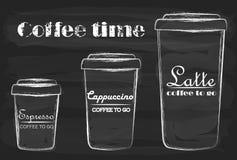 Koffie om te gaan latte, cappuccino en espresso vector illustratie