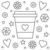 Koffie omhoog Kleurende pagina Vector illustratie Royalty-vrije Stock Afbeeldingen