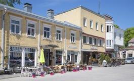 Koffie op Centrale vierkante Tammisaari Raseborg finland Stock Afbeelding