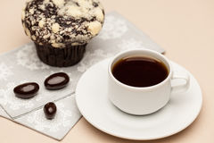 Koffie op de lijst Stock Foto