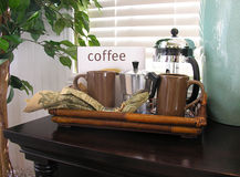 Koffie op een Dienblad stock foto