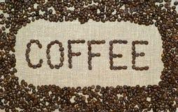 Koffie op een jute Royalty-vrije Stock Fotografie