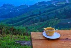 Koffie op heuvel stock afbeeldingen