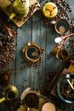 Koffie op hout Stock Foto