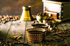 Koffie op hout Royalty-vrije Stock Foto's