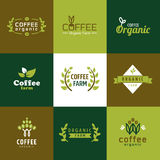 Koffie organisch embleem Stock Afbeeldingen