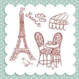 Koffie in Parijs Stock Illustratie