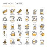 Koffie, pixel perfect pictogram Royalty-vrije Stock Afbeeldingen