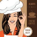 Koffie reclamebanner met een mooie dame vector illustratie