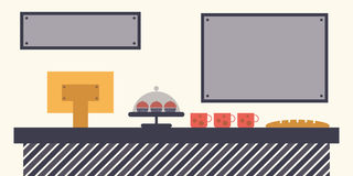 Koffie, Restaurant of Bakkerij de Verkoop verzet tegenzich Stock Afbeeldingen