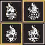 Koffie Retro Kentekens Stock Fotografie