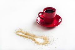 Koffie in Rood Stock Fotografie