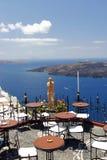 Koffie in Santorini, Griekenland Stock Foto