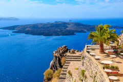 Koffie Santorini Griekenland Stock Foto's