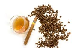 Koffie, sigaar en cognac stock fotografie