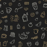 Koffie, thee en cakes naadloos als achtergrond patroon Royalty-vrije Stock Fotografie