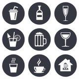 Koffie, theepictogrammen De alcohol drinkt tekens Stock Foto