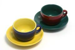Koffie twee vormt horizontaal o tot een kom Stock Afbeelding