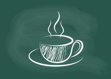 Koffie, vector van koffie die op bordkrijt trekken Royalty-vrije Stock Afbeelding