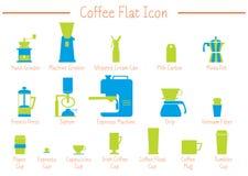 Koffie vlak pictogram Royalty-vrije Stock Fotografie