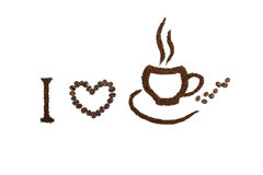 Koffie witte achtergrond Stock Afbeeldingen