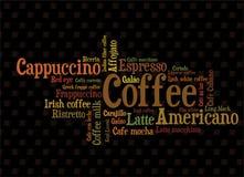 Koffie wordcloud Royalty-vrije Stock Fotografie