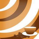 Koffieachtergrond met kop en koffiebonen Stock Afbeeldingen