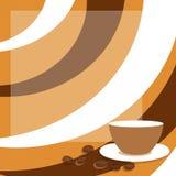 Koffieachtergrond met kop en koffiebonen Royalty-vrije Stock Afbeeldingen