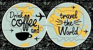 Koffiebanner op het thema van reis de wereld royalty-vrije illustratie