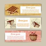 Koffiebanners met hand getrokken ontwerp Het menumalplaatje van het dessertrestaurant Reeks kaarten voor collectieve identiteit V Stock Foto's