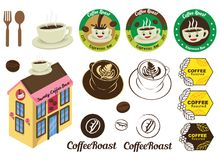 Koffiebar Logo Badge Icon Vector Illustration en Grafisch Ontwerp Royalty-vrije Stock Afbeelding