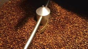 Koffiebonen in de molen die - geroosterde koffie mengen stock videobeelden