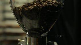 Koffiebonen die in een transparante koffiemolen worden gegoten stock videobeelden