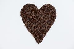 Koffiebonen die gevormd hart vormen Royalty-vrije Stock Afbeelding