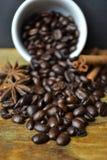 Koffiebonen die uit witte kop met kaneel en steranijsplant morsen Royalty-vrije Stock Fotografie