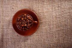 Koffiebonen in een kop Stock Foto's