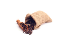 Koffiebonen in een zak stock foto