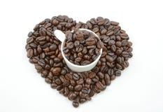 Koffiebonen en Hart Royalty-vrije Stock Foto
