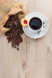 Koffiebonen en kop Stock Foto