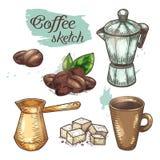 Koffiebonen en kop, cezve of ibrik coffeeshop royalty-vrije illustratie