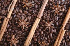 Koffiebonen en species Stock Afbeeldingen