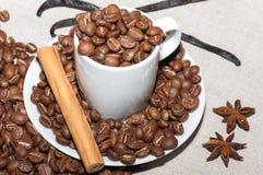 Koffiebonen met vanille Stock Afbeeldingen