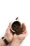Koffiebonen op de handen royalty-vrije stock fotografie