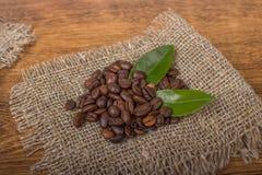 Koffiebonen op jute Stock Foto