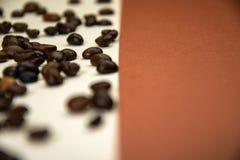 Koffiebonen op witte en bruine achtergrond stock foto's