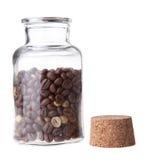 Koffiebonen in open fles royalty-vrije stock afbeelding