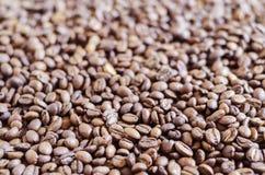 Koffiebonen over de oppervlakte worden verspreid die royalty-vrije stock fotografie