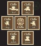 Koffiebonen van verschillende landen Royalty-vrije Stock Afbeeldingen