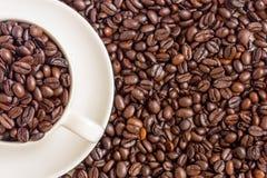 Koffieboon en koffie Stock Foto